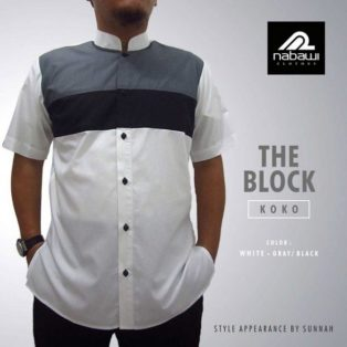Koko Nabawi The Block Series Putih Lengan Pendek