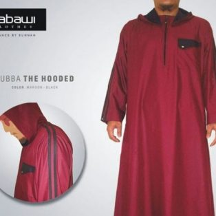 Jubah Nabawi The Hooded Merah Marun Lengan Panjang