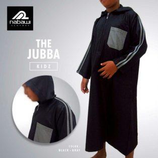 Baju Gamis Jubah Lengan Panjang Anak Hoodie Hitam